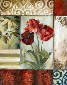 Lisa Audit Premium Thick-Wrap Canvas Wall Art Print entitled Tulips, None Decoupage Vintage, Decoupage Paper, Art Floral, Floral Prints, Art Prints, Artist Canvas, Canvas Art, Illustrations Vintage, Fleurs Diy