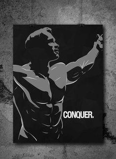 Conquer - Arnold Schwarzenegger motivational Gym Poster