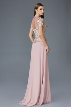 G2100 Short Sleeve Lace Chiffon Mother of the Bride Dress Evening Gown