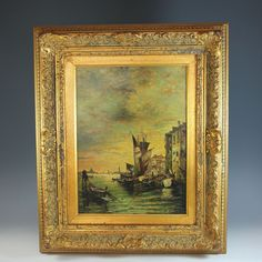 Oil Painting a View of Venice by British listed artist J. Walker - Oil Painting a View of Venice by British listed artist J. Walker