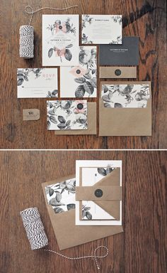 Romantic botanical wedding invitation suite in black, white, Kraft paper and blush