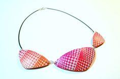 Silkscreen en arcilla polimérica - Polymer clay silkscreen necklace
