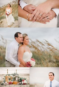 Best Beach Photography : Beach Elopement Photography Virginia Beach Couple elopes on the beach in a char