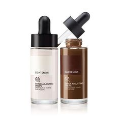 "Transform an ""almost right"" shade into your perfect one in just one drop with The Body Shop's Shade Adjusting Drops. Lightening drop lightens and neutralizes yellowness, while the darkening drop darkens while keeping natural depth"