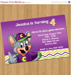 Chuck E Cheese Birthday Invitations Chuck E Cheese Party - Chuck e cheese birthday invitation template