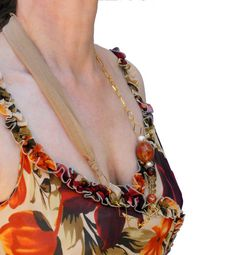 Fabric summer  necklace beaded beige and brown with by lillicose, $24.20