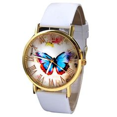 Hemlock Fashional Round Roman Numerals Womens Watch White PU Leather Band Gold Watches -- Click image for more details.Note:It is affiliate link to Amazon.
