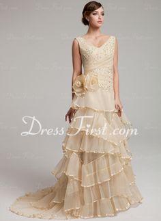 A-Line/Princess V-neck Sweep Train Organza Wedding Dress With Ruffle Lace Beadwork Flower(s) (002017527)