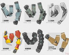 Types of mechanism arm joints Robot Concept Art, Armor Concept, Design Reference, Art Reference, Cyberpunk, Zoids, Robots Drawing, Arte Robot, Robot Arm