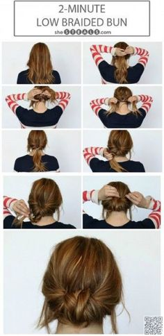 5. #2-minute Low Braided Bun - #Effortless Hairstyles for the #Beach and beyond ... → Hair #Fishtail