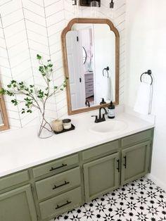 Bathroom Renos, Laundry In Bathroom, Master Bathroom, Bathroom Ideas, Black Cabinets Bathroom, Bathroom Table, Green Cabinets, Bathroom Stuff, Dark Cabinets