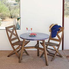 Mosaic Tiled Bistro Table - Blue Penny Top + Driftwood Base | west elm