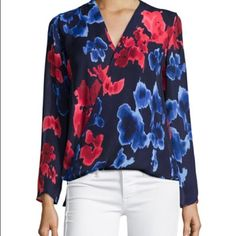 Michael Kors Floral PrintWrap Long Sleeve Top L NWT Michael Kors Macintosh floral-print crepe blouson silhouette with solid jersey back size large. 100% polyester. High-low hem. Long sleeves. Pullover style KORS Michael Kors Tops Blouses