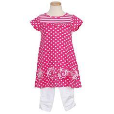 Flapdoodles Fuchsia Polka Rosette Toddler Little Girls Outfit 2T-10