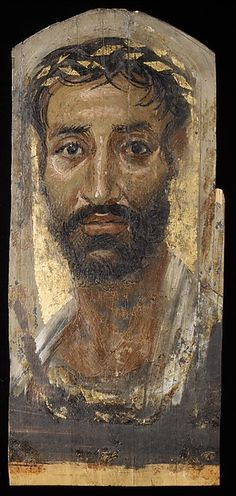 "Portrait of a thin-faced man, A.D. 140-170. The Metropolitan Museum of Art, New York. Rogers Fund, 1909 (09.181.3) | This work is exhibited in the ""New Discoveries: Early Liturgical Textiles from Egypt, 200-400"" exhibition, on view through September 5, 2016. #LiturgicalTextiles"