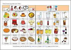 MATERIALES - Tableros de comunicación: Alimentos (bebidas y postres). http://arasaac.org/materiales.php?id_material=678