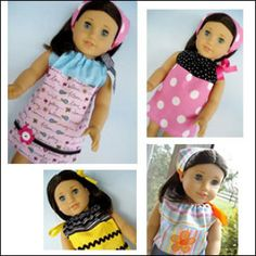 """18"""" Doll Pillowcase Dress, Shirt, Nightgown & Kerchief Hat Instructions 