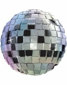 Disco Ball Balloon--awesome! You don't have to spend a fortune on a real disco ball but you can still have that sparkle--it can be hung from the ceiling ;-)