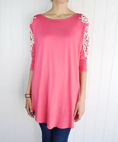 Look what I found on #zulily! Coral Crochet-Shoulder Tunic by éloges #zulilyfinds