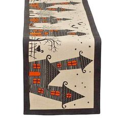 HALLOWEEN-TABLERUNNER-BLACK-ORANGE-HAUNTED-HOUSE-LONG-TABLE-TOP-COVER-HOME-DECOR…