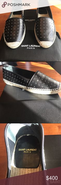 NWT AUTHENTIC YSL ESPADRILLES!! NWT AUTHENTIC YSL ESPADRILLES!! Black lamb skin leather with silver studs! Beautiful shoes that are also comfy! Never worn! Comes with box and dust bag!! Size 38 but they run small so recommend for a size 37 (size 7) or 37.5. 🎉MAKE OFFER🎉 Yves Saint Laurent Shoes Espadrilles