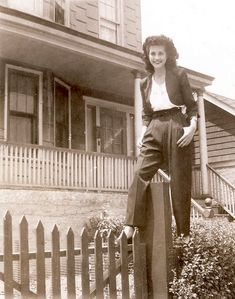 One thing's for sure, she wasn't on the fence about wearing pants! #pants #1940s #fashion #vintage vintage fashion style found photo print ad model magazine 40s jeans casual wear sports