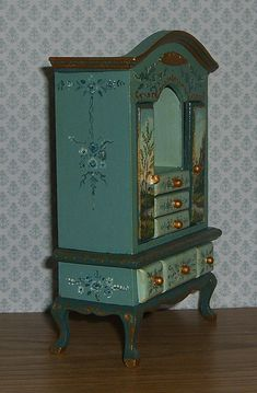 I've hand painted this little wooden cabinet/cupboard in shades of sea foam, French & dark teal. All doors and drawers open and it has been finished with antiquing varnish for an aged look. Metallic gold detailing adds a little gleam. | eBay!