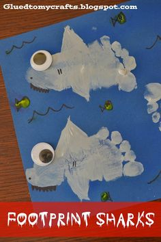 This footprint shark craft is a perfect kid's activity for Shark Week!