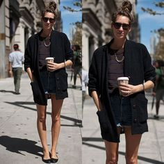 #stealthelook #look #looks #streetstyle #streetchic #moda #fashion #style #estilo #inspiration #inspired #cardigan #sapatilha #short #Jeans #weekend