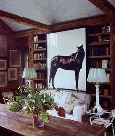 I love horses and everything equine. I still have a couple of my saddles, and a show halter which I keep in the terrace level family room. Throughout the house I have quite a bit of canine and equi… Equestrian Decor, Equestrian Style, Equestrian Fashion, Vogue Living, Modern Materials, Horse Art, Country Chic, Country Farm, Beautiful Horses
