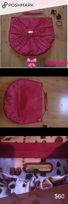 Authentic Betsey Johnson  Authentic large hot pink Betsey Johnson a hobo bag. Bow shape in the front gold studded never used no stains mint condition  Betsey Johnson Bags Hobos