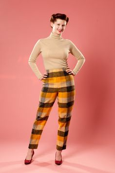 Vintage Plaid Cigarette Pants High Waisted by AlexSandras 1970s Clothing, Yellow Blouse, Wool Pants, Cotton Blouses, Mustard Yellow, Workout Pants, A Line Skirts, Cool T Shirts, Capri Pants