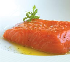 Olive Oil Poached Salmon Recipe - All-Clad Salmon Dishes, Seafood Dishes, Fish And Seafood, Salmon Recipes, Fish Recipes, Seafood Recipes, Fancy Recipes, Recipe For Poached Salmon, Tasty Bites