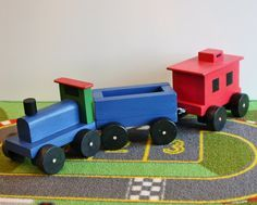 Toy Wooden Train Set  Handcrafted Wooden Toy Train by McCoyToys, $40.00