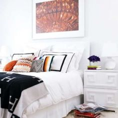 """Taken from """"The World According to Jessica Claire"""" from Style at Home. We adore the Hermes throw! And all white…wonderful!"""