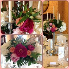 Peonies, roses, hydrangea and alstromeria. Wedding Bouquets, Wedding Flowers, Centrepieces, At The Hotel, Candelabra, Hydrangea, Peonies, Roses, Display