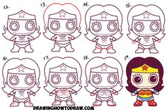 Learn How to Draw Cute Chibi Wonder Woman from DC Comics in Simple Steps Drawing Lesson for Kids