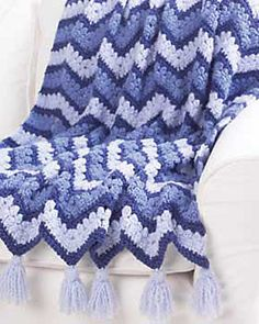 Blue Ripple Afghan. Pattern available for free from Bernat Design Studio.