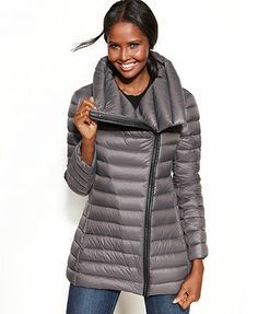 Calvin Klein Coat, Faux-Leather-Trim Packable Down Puffer