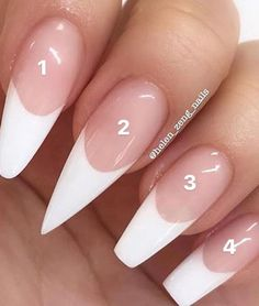 French stiletto nails, acrylic white tips, acrylic nails coffin pink, clear a Acrylic Nail Types, White Tip Acrylic Nails, Acrylic Nail Designs, Nails With White Tips, Shapes Of Acrylic Nails, White Tip Nail Designs, French Manicure Acrylic Nails, White Nails, French Manicures
