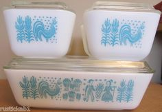 blue folky design vintage pyrex my grandma had these...