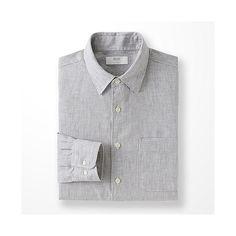 Uniqlo Men Premium Linen Long Sleeve Shirt Gray