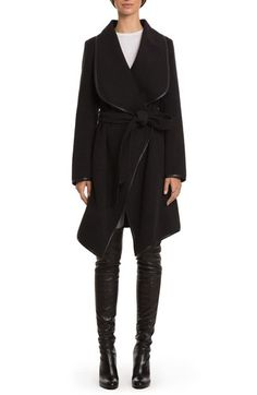 Belle Badgley Mischka Tessa Faux Leather Trim Belted Wrap Coat available at #Nordstrom