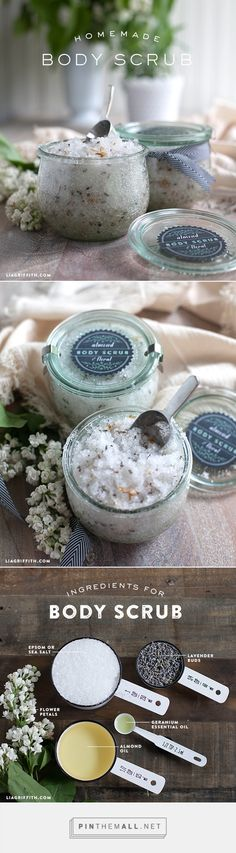 DIY Almond and Floral Body Scrub. More ideas and inspiration at www.liagriffith.com