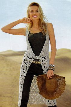 Chaleco Crochet Tunic Pattern, Crochet Cardigan, Crochet Lace, Crochet Summer Dresses, Crochet Summer Tops, Crochet Projects To Sell, Lace Vest, Fashion For Women Over 40, Clothes Crafts