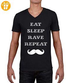Vintage Eat Sleep Rave Repeat Moustache Graphic Herren V neck T-shirt XXL (*Partner-Link)