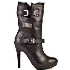 Benny - Black Leather by Guess Shoes Leather Heeled Boots, Black Leather Boots, Black Heels, High Heels, Professional Shoes, Guess Shoes, Crazy Shoes, Cute Shoes, Shoe Boots