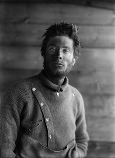 Bernard Day on his return from the Barrier, 21 December 1911. Bernard was a motor-sledge driver on the Terra Nova Expedition.