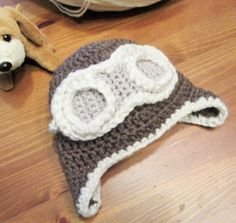 Baby Aviator Hat Crochet Baby Hat Baby Photo Prop by TheComfyBaby