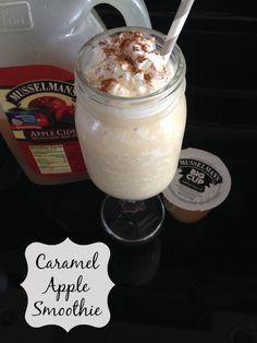 Caramel Apple Smoothie made with Musselman's Apple Sauce, Apple Cider and HC Caramel Swirl Frozen Yogurt. Only 6 WW PP. A great afternoon low cal snack. #AppleSauceSwap @musselmansapple #JustPlumCrazy